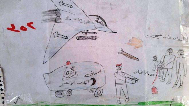 Desenho feito por criança síria mostra avião de guerra, mísseis e uma criança ferida
