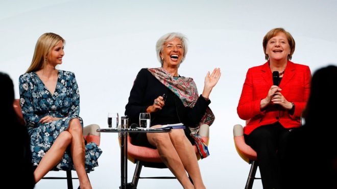 Ivanka Trump, Christine Lagarde and Angela Merkel at a panel discussion