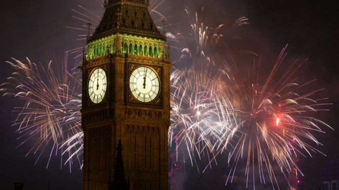 Big Ben during New Year's celebrations in 2016