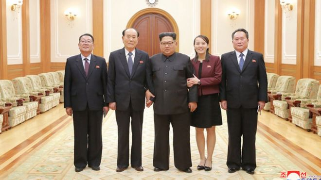 Photo of the North Korean delegation and Mr Kim