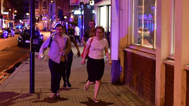 "People run down Borough High Street as police are dealing with a ""major incident"" at London Bridge"
