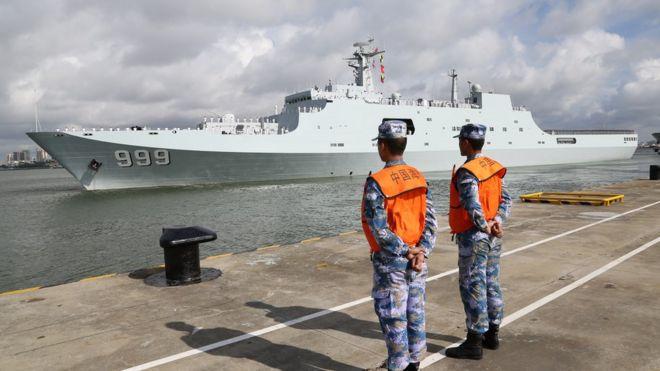 解放軍駐吉布提保障基地成立暨部隊出征儀式在廣東湛江某軍港舉行