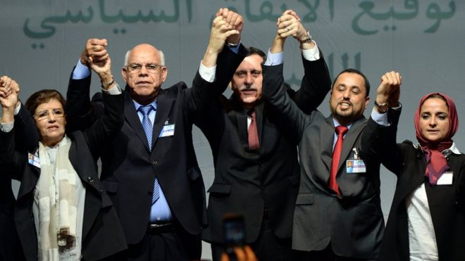 Libyan delegates at peace ceremony in Morocco