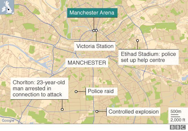 Manchester Arena geniş alan haritası