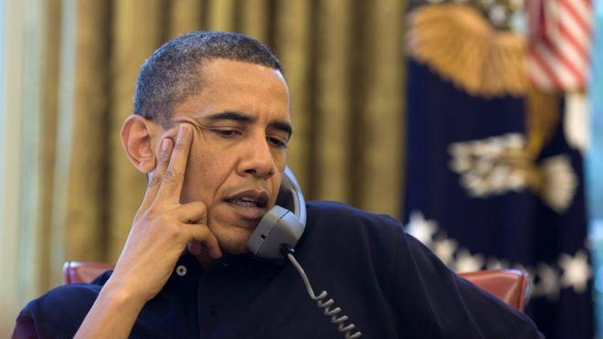 Former US President Barack Obama on the phone, June 2010