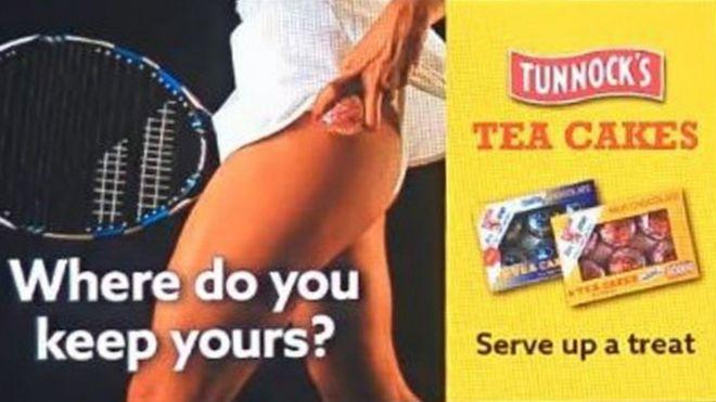 Advert showing a teacake underneath a tennis player's skirt
