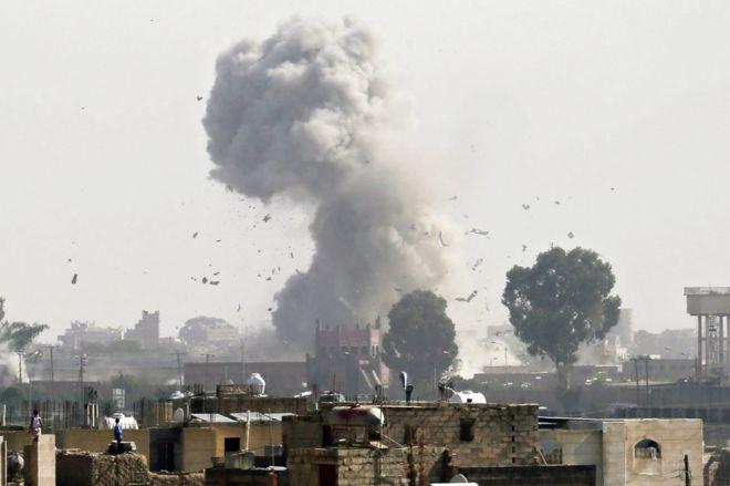 Smoke rises above Sanaa, Yemen following a Saudi-led coalition air strike targeting a