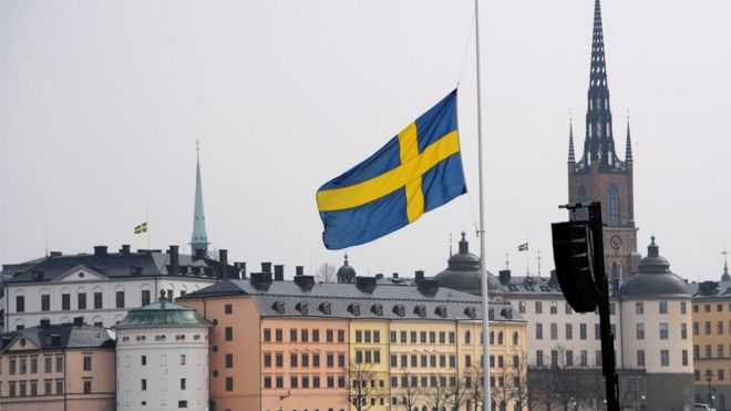 "Flag at half mast at the official ceremony at Stockholm City Hall with one minute of silence at noon to remember the victims of Friday""s terror attack on Drottninggatan"