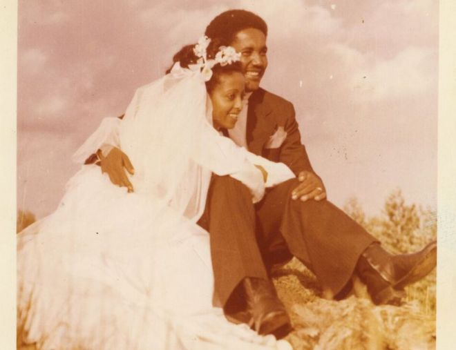 Genet and Aynalem during their wedding photo shoot