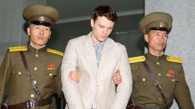 "Otto Frederick Warmbier (C), a University of Virginia student who was detained in North Korea since early January, is taken to North Korea""s top court in Pyongyang, North Korea, in this photo released by Kyodo March 16, 2016."
