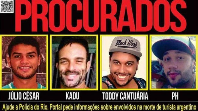 Wanted poster issued by Rio police showing Valterson Ferreria Cantuaria (third from left) and three other suspects