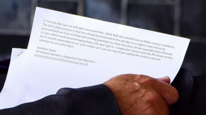 Photo of the document proposing expansion of grammar schools.