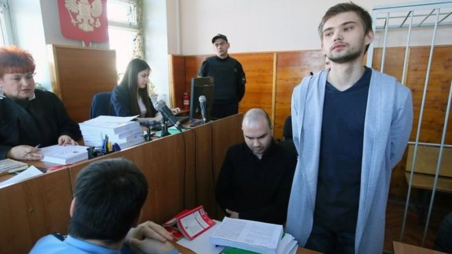 Ruslan Sokolovsky (right) during a court hearing. Photo: March 2017