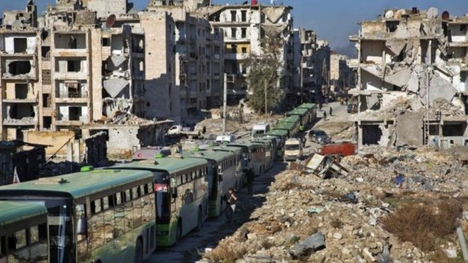 Buses are seen during an evacuation operation of rebel fighters and their families from rebel-held neighbourhoods in the embattled city of Aleppo on December 15, 2016