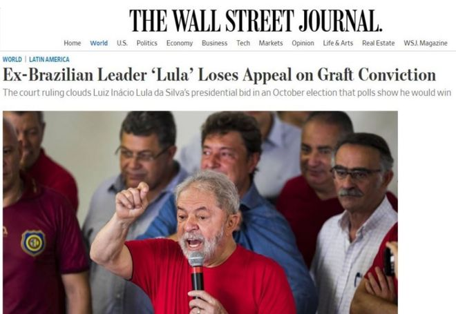 Site do Wall Street Journal destaca derrota de Lula em tribunal