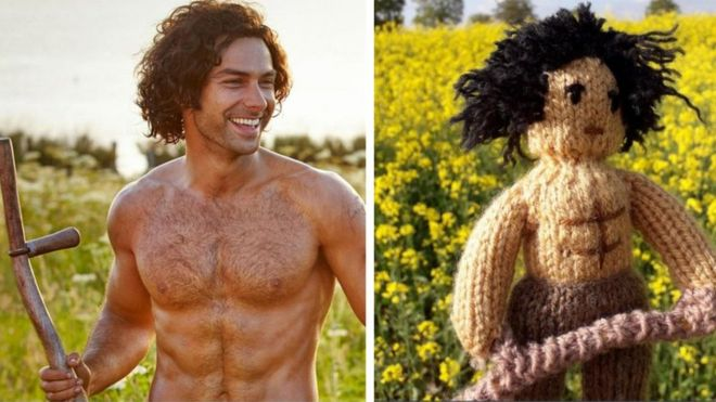 Ross Poldark topless holding a scythe, next to a knitted version