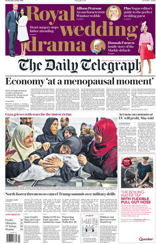 The Telegraph Wednesday