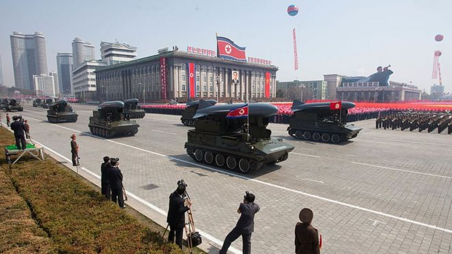 Ground-to-sea Styx missiles are displayed during a military parade in honour of the 100th birthday of the late North Korean leader Kim Il-Sung in Pyongyang on 15 April 2012