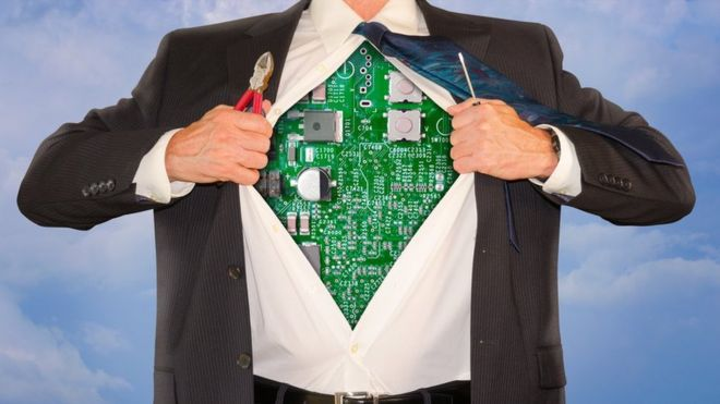 Man in suit revealing circuitboard chest