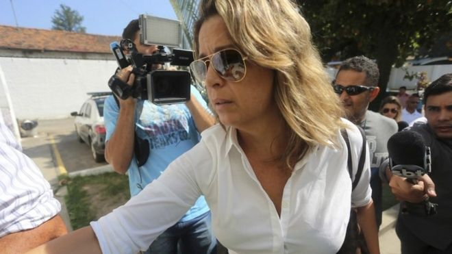 Francoise Amiridis, wife of dead ambassador Kyriakos Amiridis, arrives at a police station in Belford Roxo, near Rio