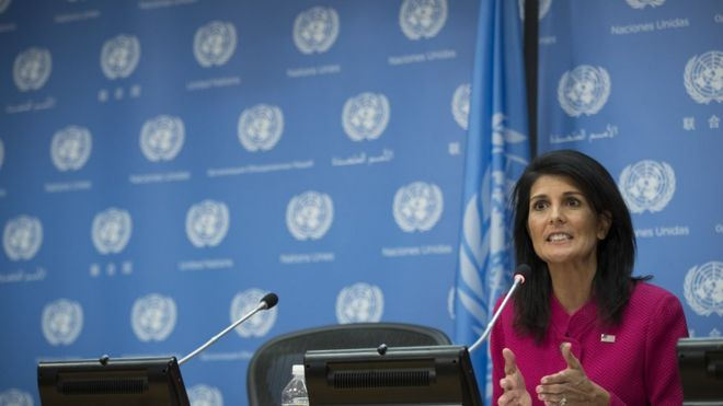 US Ambassador to the United Nation Nikki Haley answers questions during a press briefing at the United Nations headquarters