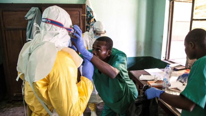 Health workers at Bikoro hospital in DR Congo