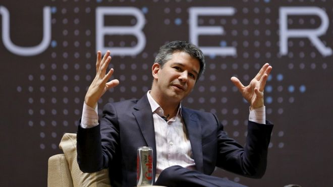 Uber CEO Travis Kalanick speaks to students during an interaction at the Indian Institute of Technology (IIT) campus in Mumbai, India, in this January 19, 2016