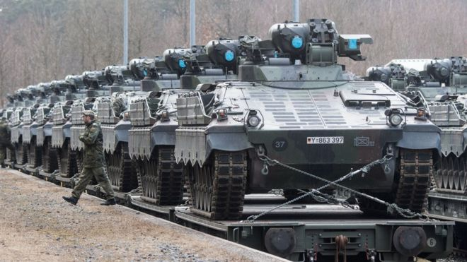 The German armed forces Bundeswehr send military vehicles to Lithuania for a Nato programme