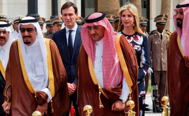 Saudi King Salman bin Abdulaziz al-Saud (L), and Ivanka Trump (r) - 20 May 2017