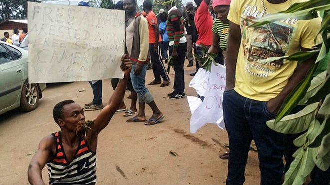 A demonstrator carries a sign calling for the liberation of detained activists during a protest on 22 September 2017 in Bamenda, the main town in north-west Cameroon