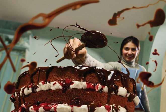 Woman making a chocolate cake