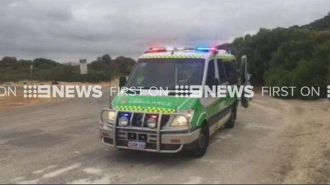 An ambulance at the scene in Esperance