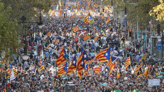 Large crowds have gathered in Barcelona to protest against direct rule from Madrid.