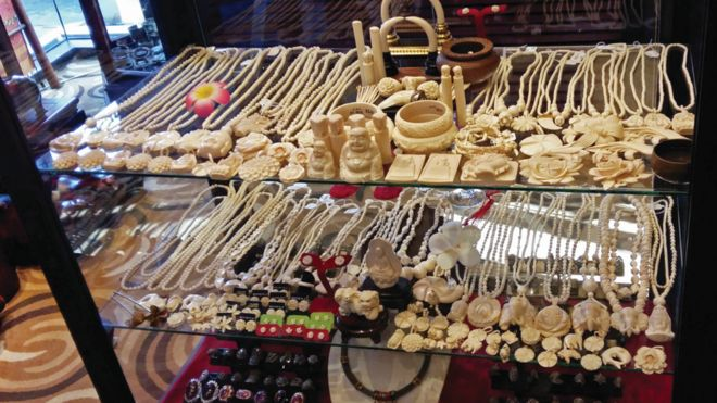 Ivory items on sale in a shop in Laos