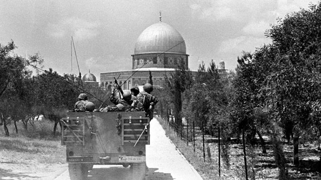 Israeli soldiers approach the Dome on the Rock June 7, 1967, in East Jerusalem, Israel on the day of its capture from Jordanian forces