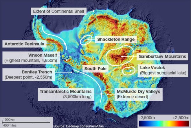 Antarctics hidden world revealed bbc news antarctica showing height of mountains sciox Images