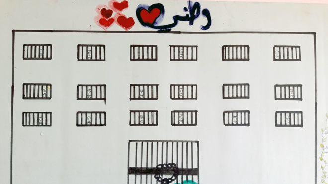 Este desenho mostra o que aparenta ser uma prisão, com diversas pessoas com semblante triste atrás das grades