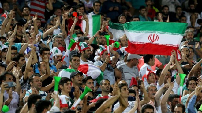 Iranian football fans at a match