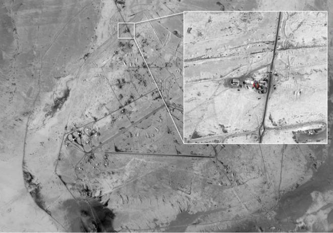 تصویری که رسانههای اسرائیلی از یکی از پایگاههای هوایی ادعایی ایران در سوریه منتشر کردهاند - بیبیسی قادر به تأیید این تصویر نیست