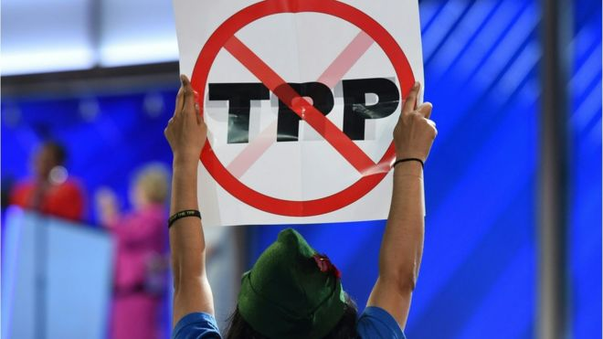 An anti-TPP protestor