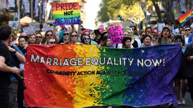 Supporters of same-sex marriage in Sydney