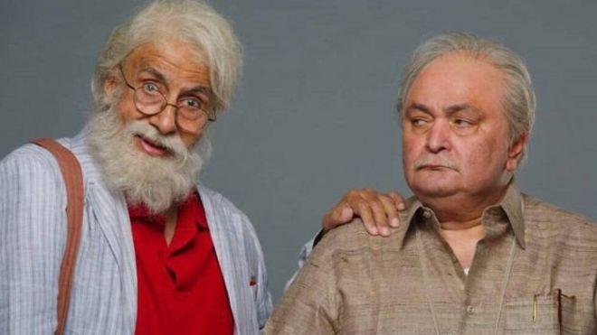 امیتابھ اور رشی کپور فلم کے احک منظر میں