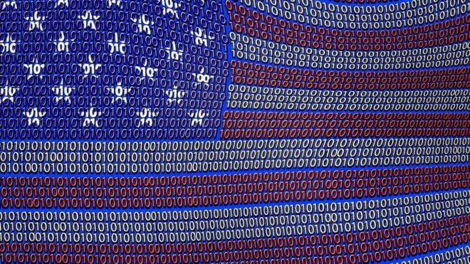 A US flag made out of binary code
