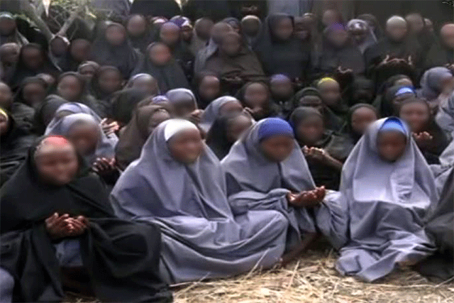A still from a 2014 Boko Haram video of the Chibok girls