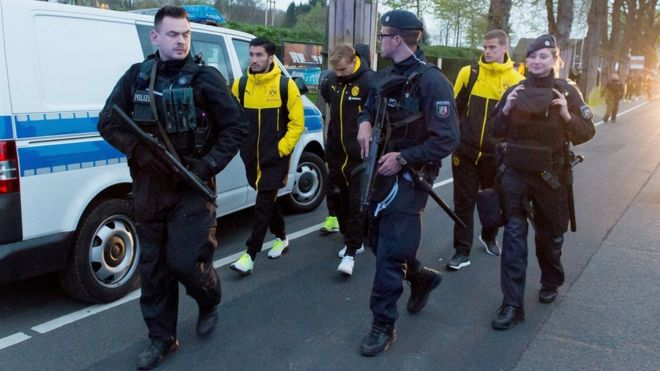 German police are investigating a possible Islamic extremist link to the bombing of the Borussia Dortmund football team's bus,