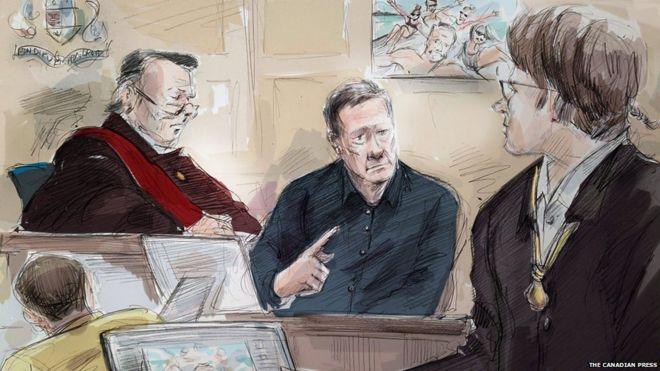 Un boceto del juicio de Millard el pasado 16 de noviembre. Imagen: The Canadian Press