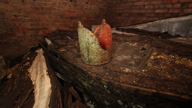 An archbishop's mitre was found resting on top of the coffins