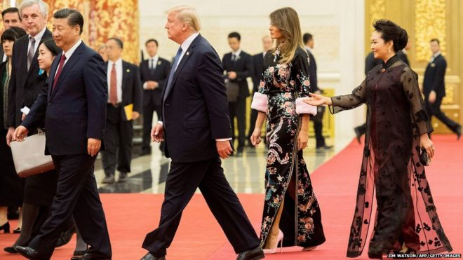 President Trump and Xi with Mrs Trump and Mrs Peng