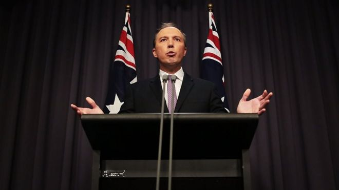 Immigration Minister Peter Dutton speaks to the media at Parliament House on May 3, 2016 in Canberra, Australia.
