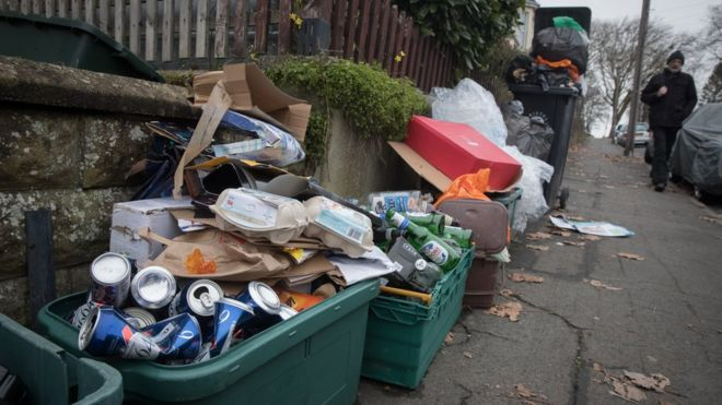 Uncollected recycling in street